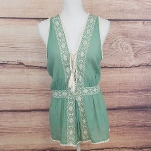 Forever 21 green Boho top with crochet trim